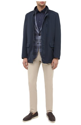 Мужская рубашка из шелка и хлопка ZILLI темно-синего цвета, арт. MFU-00802-66025/0001 | Фото 2
