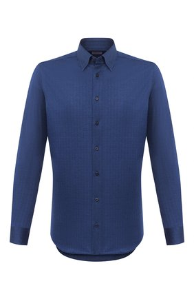 Мужская хлопковая рубашка ZILLI синего цвета, арт. MFU-64034-0001/0010 | Фото 1