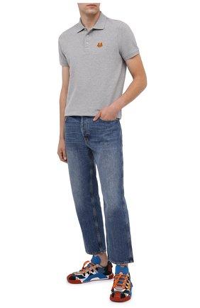 Мужское хлопковое поло KENZO серого цвета, арт. FA65P00014PU | Фото 2