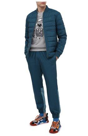 Мужской утепленные джоггеры KENZO бирюзового цвета, арт. FA65PA5491NF   Фото 2