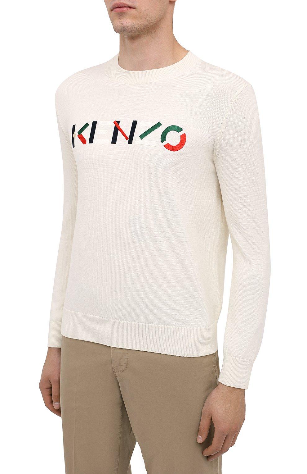 Мужской шерстяной джемпер KENZO кремвого цвета, арт. FA65PU5413LA | Фото 3