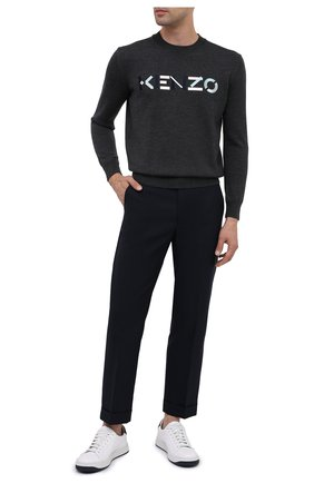 Мужской шерстяной джемпер KENZO темно-серого цвета, арт. FA65PU5413LA | Фото 2