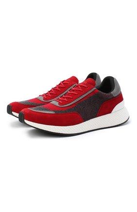 Мужские комбинированные кроссовки Z ZEGNA красного цвета, арт. A4721X-LHWSD | Фото 1 (Подошва: Массивная; Материал внешний: Текстиль; Материал внутренний: Текстиль; Стили: Спорт)