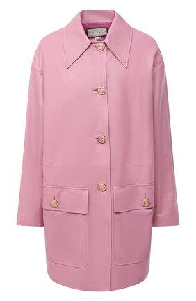 Женское кожаное пальто GUCCI сиреневого цвета, арт. 624446/XNAEX | Фото 1