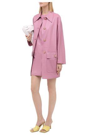 Женское кожаное пальто GUCCI сиреневого цвета, арт. 624446/XNAEX | Фото 2