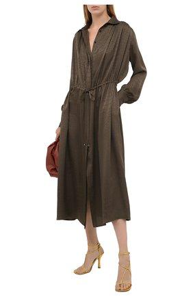 Женское шелковое платье KITON хаки цвета, арт. D50329K05T65 | Фото 2