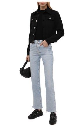 Женские кожаные кеды valentino garavani rockstud untitled VALENTINO черного цвета, арт. UW2S0A01/BXE | Фото 2