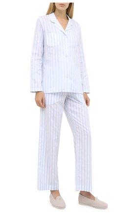 Женская хлопковая пижама DEREK ROSE голубого цвета, арт. 2029-CAPR017 | Фото 1