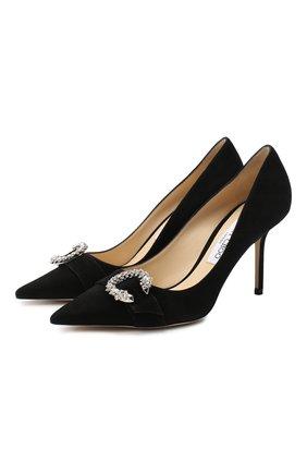 Женские замшевые туфли saresa 85 JIMMY CHOO черного цвета, арт. SARESA 85/SUE   Фото 1