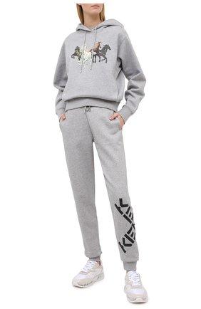 Женские хлопковые джоггеры kenzo sport KENZO серого цвета, арт. FA62PA7224MS | Фото 2