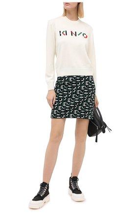 Женский шерстяной пуловер KENZO кремвого цвета, арт. FA62PU5413LA | Фото 2
