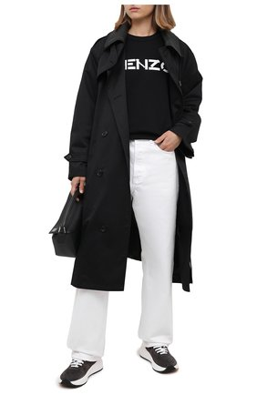Женский хлопковый свитшот KENZO черного цвета, арт. FA62SW8214MD | Фото 2 (Материал внешний: Хлопок; Рукава: Длинные; Длина (для топов): Стандартные; Женское Кросс-КТ: Свитшот-одежда; Стили: Кэжуэл)