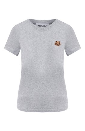 Женская хлопковая футболка KENZO серого цвета, арт. FA62TS8434SJ | Фото 1