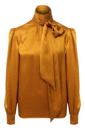 Женская шелковая блузка SAINT LAURENT желтого цвета, арт. 642360/Y8B58   Фото 1