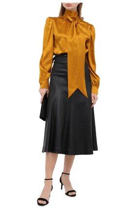 Женская шелковая блузка SAINT LAURENT желтого цвета, арт. 642360/Y8B58   Фото 2