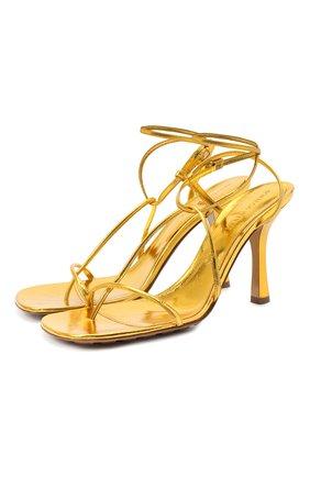 Женские кожаные босоножки bv line BOTTEGA VENETA золотого цвета, арт. 630178/VBS90 | Фото 1