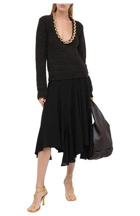 Женские кожаные босоножки bv line BOTTEGA VENETA золотого цвета, арт. 630178/VBS90 | Фото 2