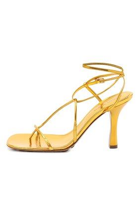 Женские кожаные босоножки bv line BOTTEGA VENETA золотого цвета, арт. 630178/VBS90 | Фото 3