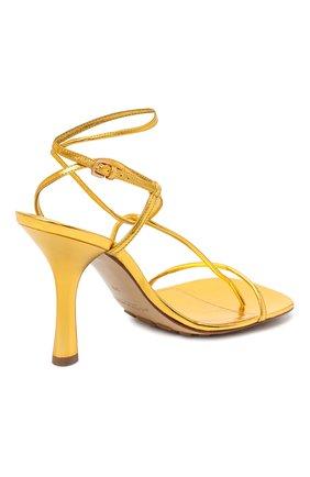 Женские кожаные босоножки bv line BOTTEGA VENETA золотого цвета, арт. 630178/VBS90 | Фото 4
