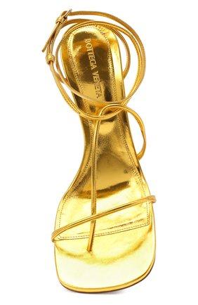 Женские кожаные босоножки bv line BOTTEGA VENETA золотого цвета, арт. 630178/VBS90 | Фото 5
