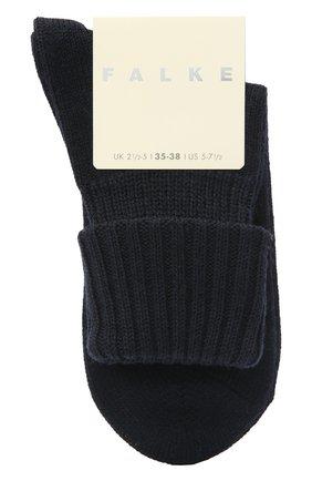 Женские шерстяные носки FALKE темно-синего цвета, арт. 47520   Фото 1 (Материал внешний: Шерсть, Синтетический материал)