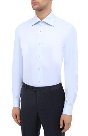 Мужская хлопковая сорочка KITON светло-голубого цвета, арт. UCIH0660702 | Фото 3