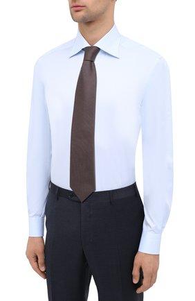 Мужская хлопковая сорочка KITON светло-голубого цвета, арт. UCIH0660702 | Фото 4