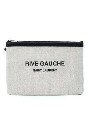 Мужская текстильный клатч SAINT LAURENT серого цвета, арт. 581369/9J58D   Фото 1