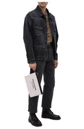 Мужская текстильный клатч SAINT LAURENT серого цвета, арт. 581369/9J58D   Фото 2