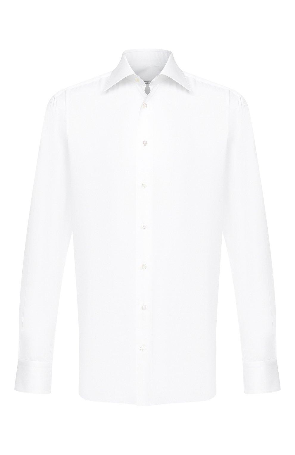 Мужская хлопковая сорочка ZILLI белого цвета, арт. MFU-10715-0299/0001   Фото 1