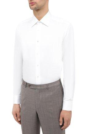 Мужская хлопковая сорочка ZILLI белого цвета, арт. MFU-10715-0299/0001   Фото 3