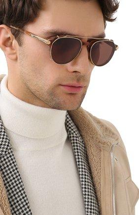 Мужские солнцезащитные очки BRIONI светло-коричневого цвета, арт. 0DC400/P3ZAC | Фото 2