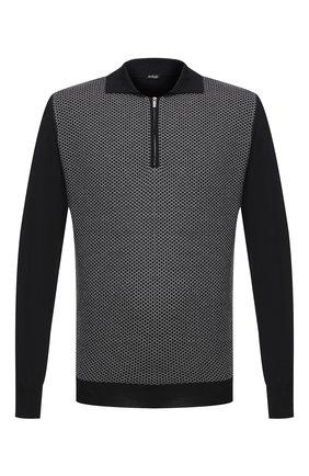 Мужское поло из кашемира и шелка KITON черно-белого цвета, арт. UK1190Z | Фото 1