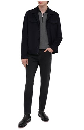 Мужское поло из кашемира и шелка KITON черно-белого цвета, арт. UK1190Z | Фото 2