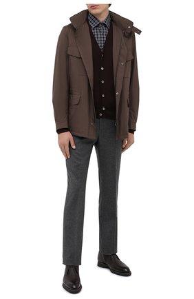 Мужская хлопковая рубашка KITON серого цвета, арт. UMCNERHH07472   Фото 2