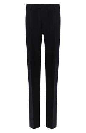 Мужские шерстяные брюки GIORGIO ARMANI темно-синего цвета, арт. 0SGPP0BF/T004K | Фото 1 (Длина (брюки, джинсы): Стандартные; Материал подклада: Синтетический материал; Материал внешний: Шерсть; Случай: Повседневный; Стили: Кэжуэл)
