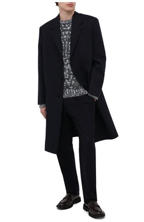 Мужские шерстяные брюки GIORGIO ARMANI темно-синего цвета, арт. 0SGPP0BF/T004K | Фото 2 (Длина (брюки, джинсы): Стандартные; Материал подклада: Синтетический материал; Материал внешний: Шерсть; Случай: Повседневный; Стили: Кэжуэл)