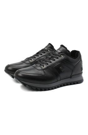 Мужские кожаные кроссовки BOGNER черного цвета, арт. 103-B813/SEATTLE 6 | Фото 1