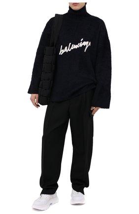 Мужской хлопковый свитер BALENCIAGA темно-синего цвета, арт. 625935/T3182 | Фото 2