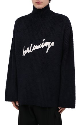 Мужской хлопковый свитер BALENCIAGA темно-синего цвета, арт. 625935/T3182 | Фото 4