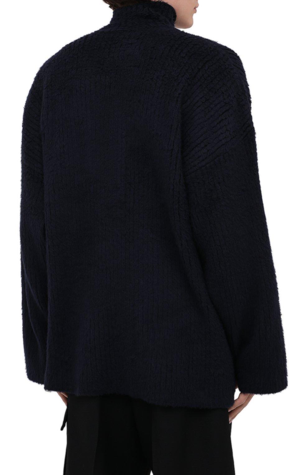 Мужской хлопковый свитер BALENCIAGA темно-синего цвета, арт. 625935/T3182 | Фото 5