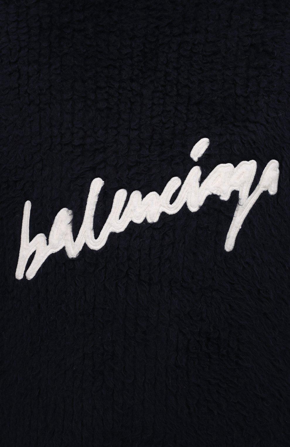 Мужской хлопковый свитер BALENCIAGA темно-синего цвета, арт. 625935/T3182 | Фото 6
