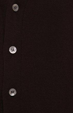 Мужской кардиган из кашемира и шелка IL BORGO CASHMERE коричневого цвета, арт. 54-1227G0 | Фото 5 (Материал внешний: Шерсть, Шелк; Рукава: Длинные; Длина (для топов): Стандартные; Стили: Классический)