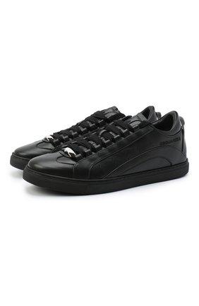 Мужские кожаные кеды DSQUARED2 черного цвета, арт. SNM0090 06500001 | Фото 1