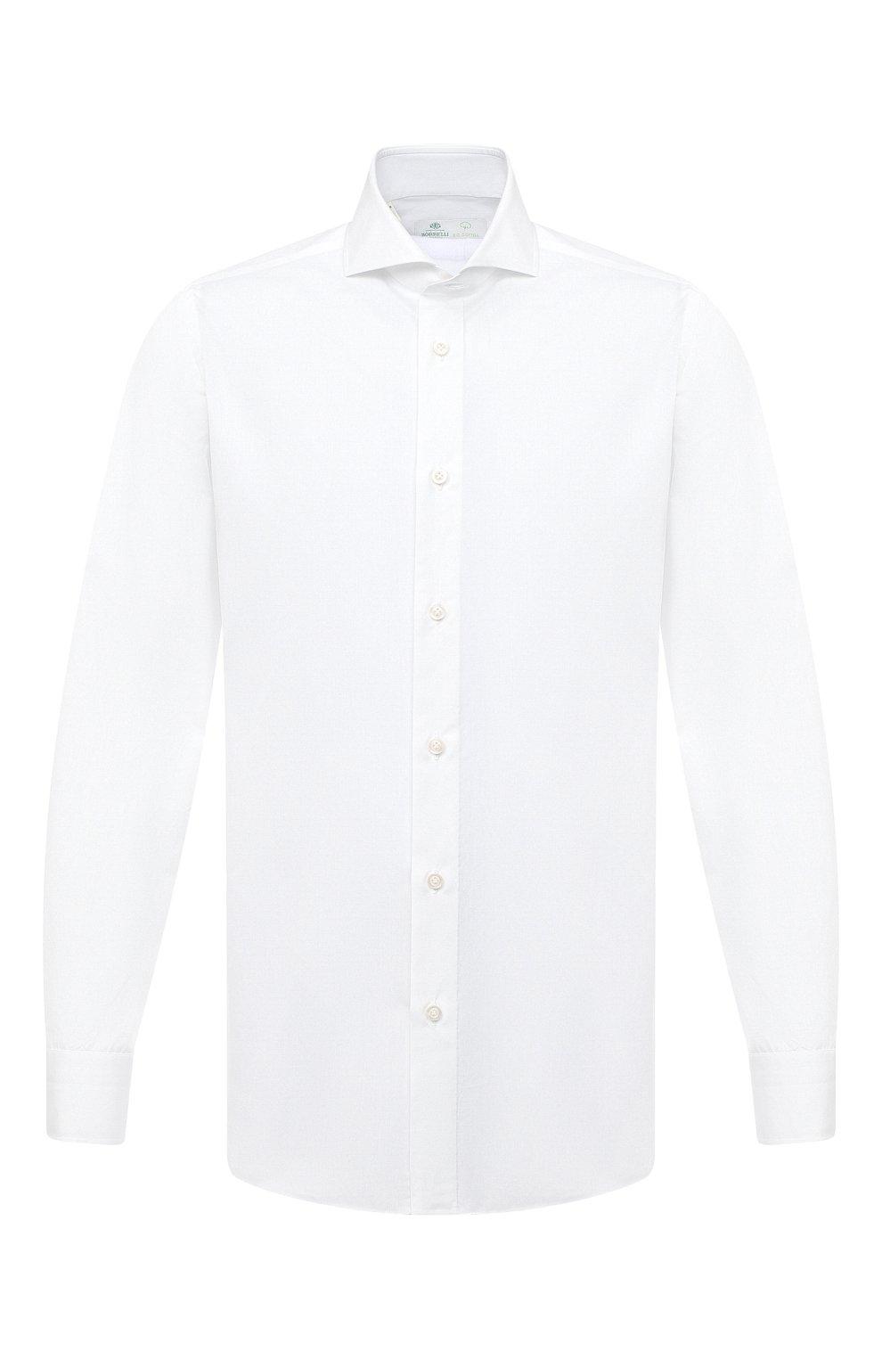 Мужская хлопковая сорочка LUIGI BORRELLI белого цвета, арт. EV08/FELICE/TS30851   Фото 1 (Рукава: Длинные; Длина (для топов): Стандартные; Материал внешний: Хлопок; Случай: Формальный; Стили: Кэжуэл)