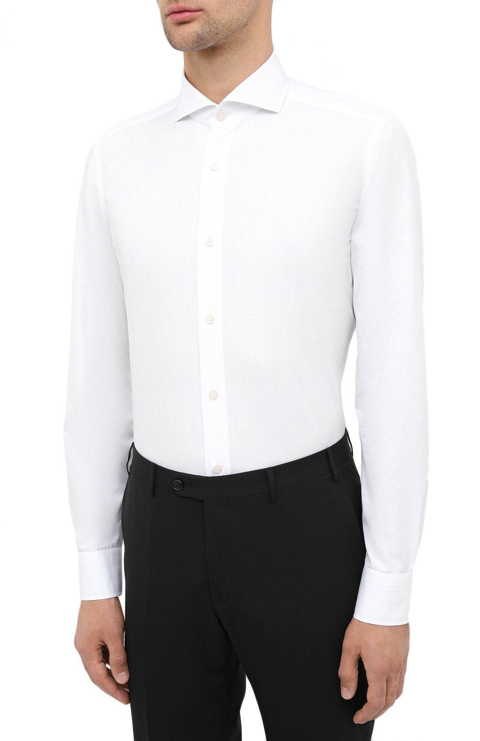 Мужская хлопковая сорочка LUIGI BORRELLI белого цвета, арт. EV08/FELICE/TS30851   Фото 3 (Рукава: Длинные; Длина (для топов): Стандартные; Материал внешний: Хлопок; Случай: Формальный; Стили: Кэжуэл)