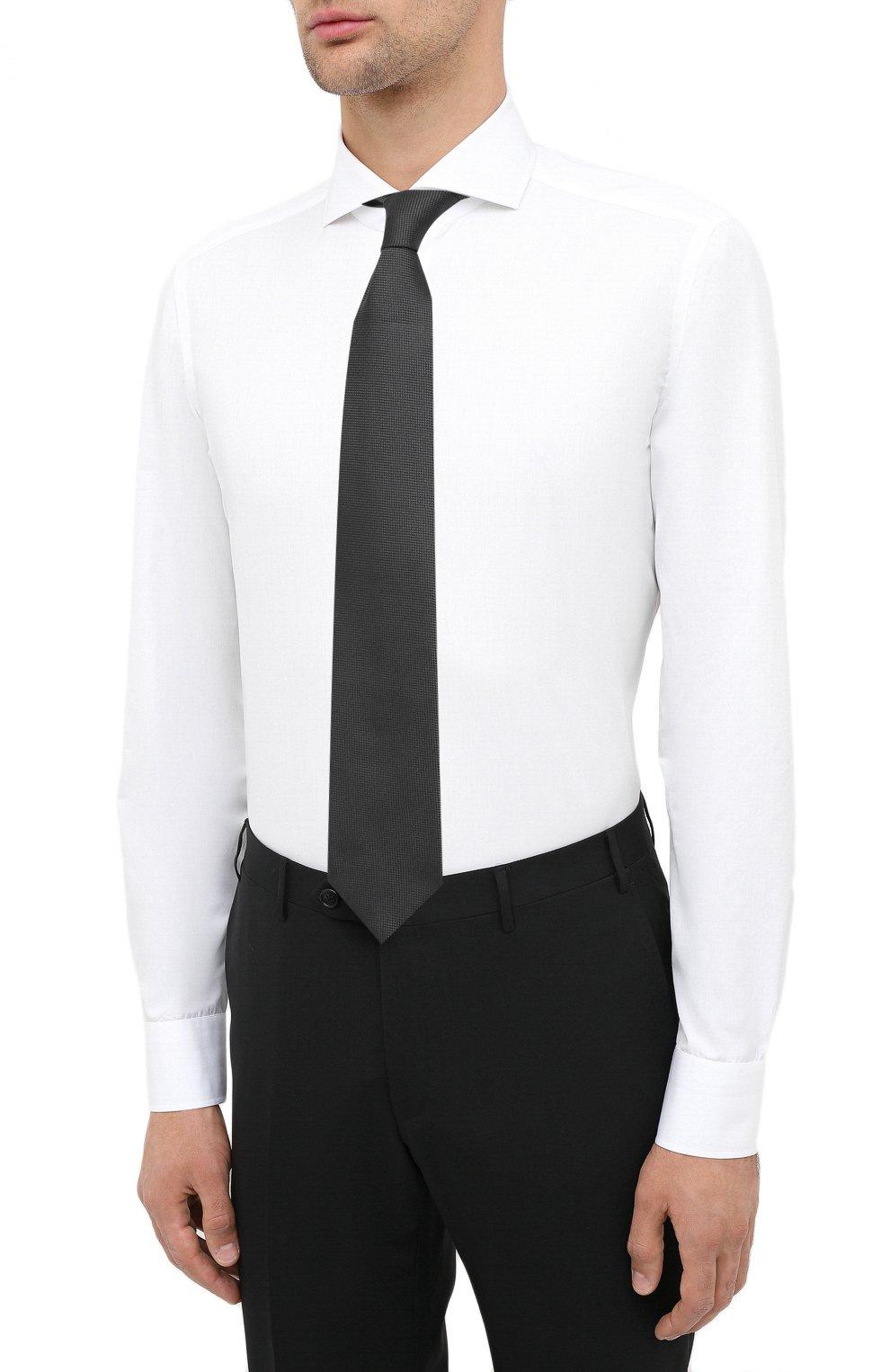 Мужская хлопковая сорочка LUIGI BORRELLI белого цвета, арт. EV08/FELICE/TS30851   Фото 4 (Рукава: Длинные; Длина (для топов): Стандартные; Материал внешний: Хлопок; Случай: Формальный; Стили: Кэжуэл)