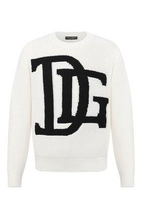Мужской шерстяной свитер DOLCE & GABBANA белого цвета, арт. GXB34T/JAVXB | Фото 1