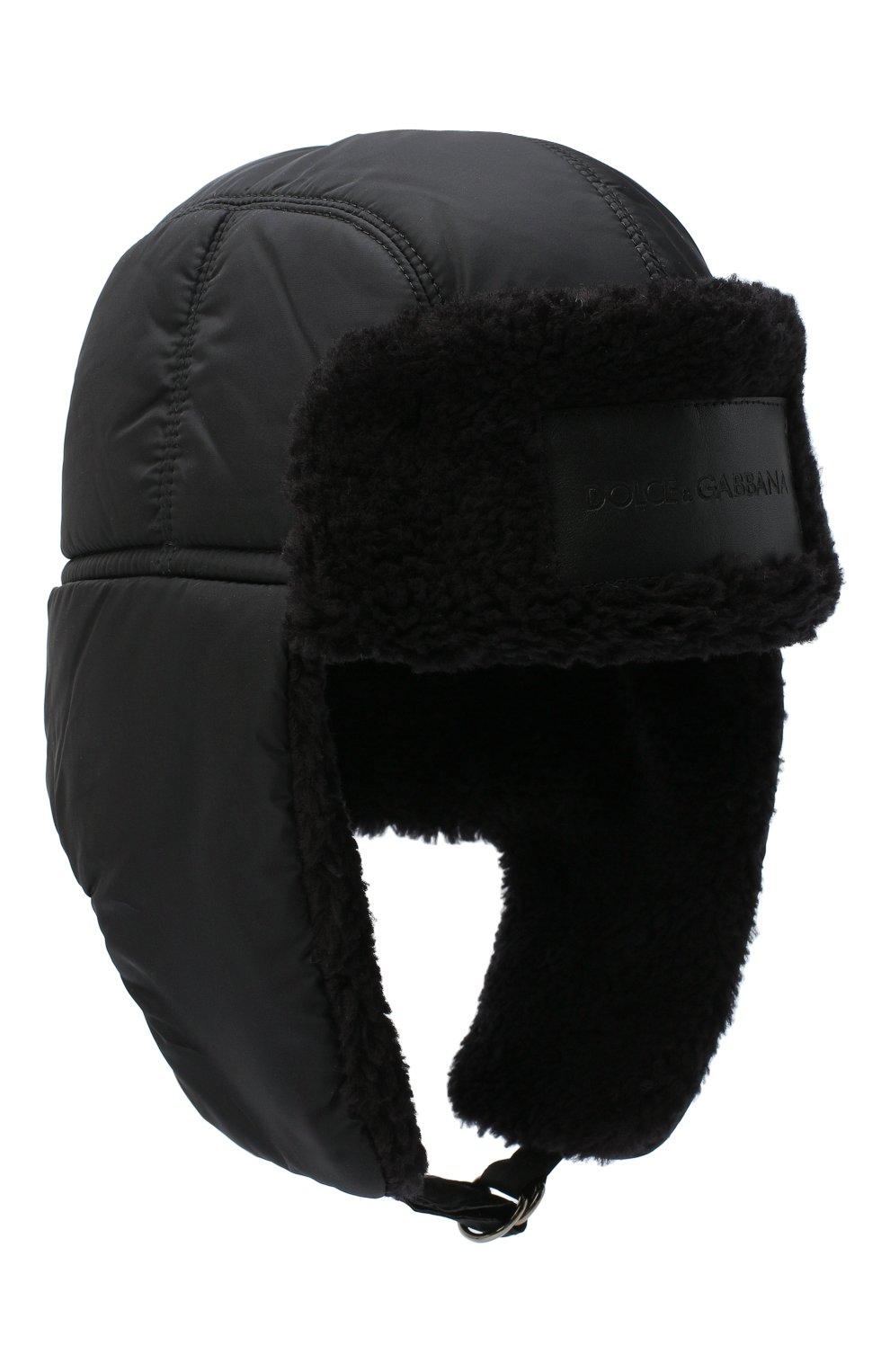 Мужская утепленная шапка-ушанка DOLCE & GABBANA черного цвета, арт. GH574Z/FUMQG | Фото 1