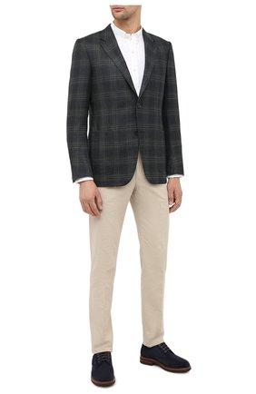 Мужской пиджак из шерсти и шелка ERMENEGILDO ZEGNA темно-зеленого цвета, арт. 859500/122520   Фото 2